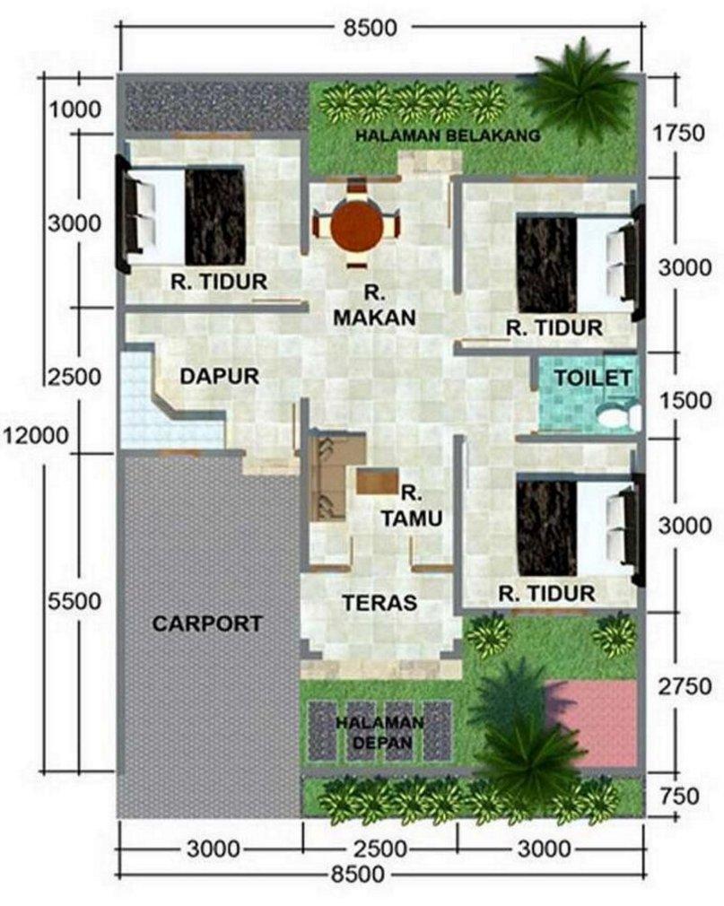 denah rumah minimalis 8x15 1 lantai moderen