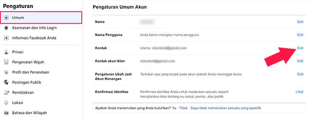 Cara Ganti Email FB Melalui PC