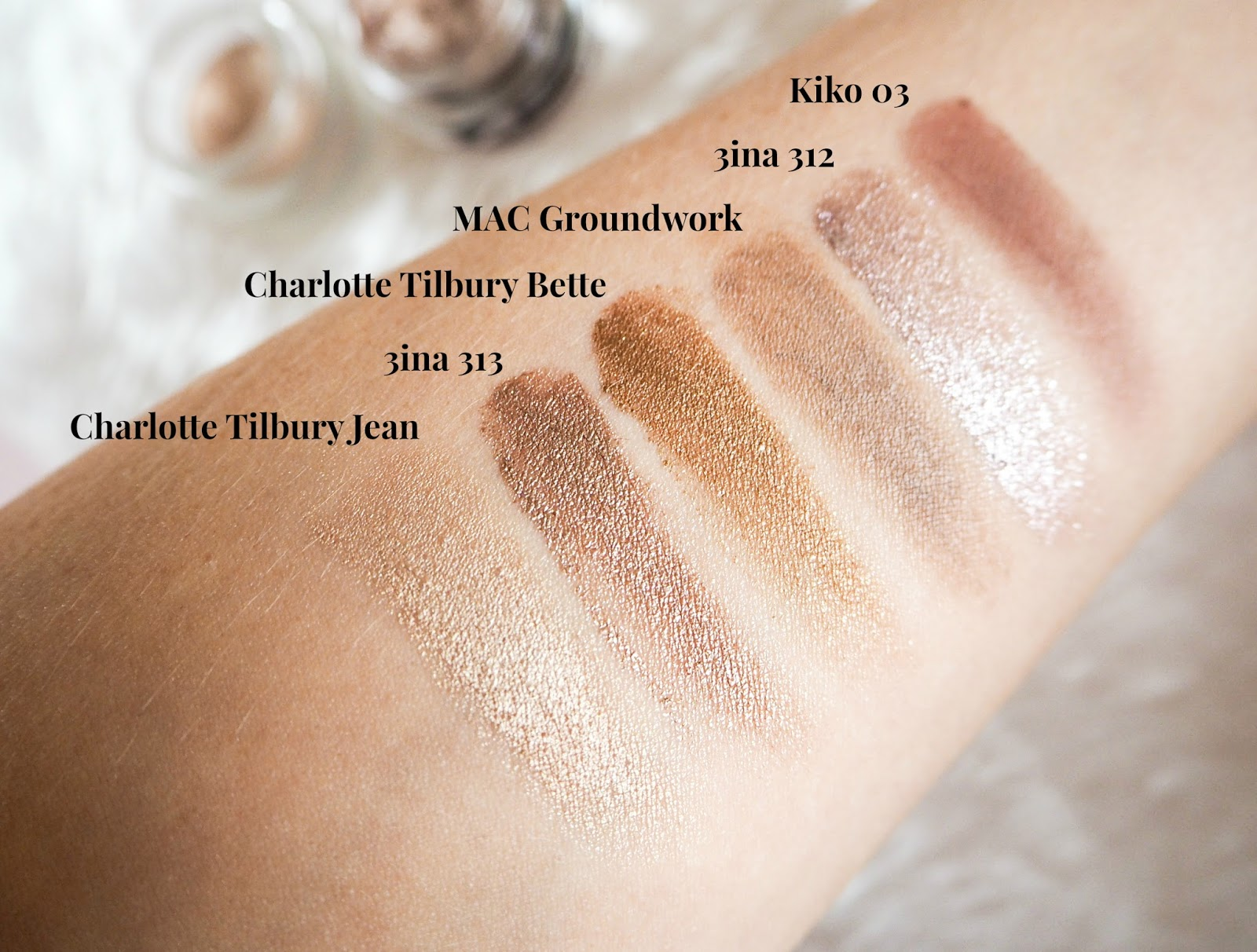 Cream Pot Eyeshadow Swatches, Charlotte Tilbury Jean and Bette, 3ina 312 and 313, Kiko 03 and MAC Groundwork
