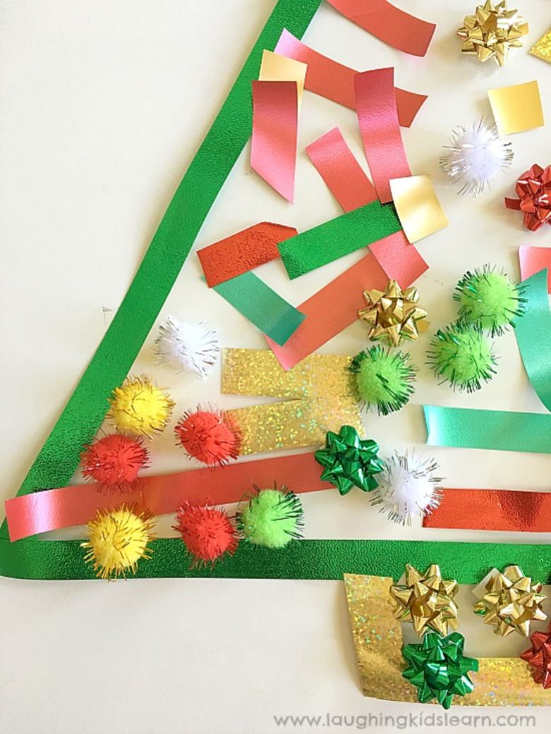 Contact paper Christmas activity for toddlers and preschoolers