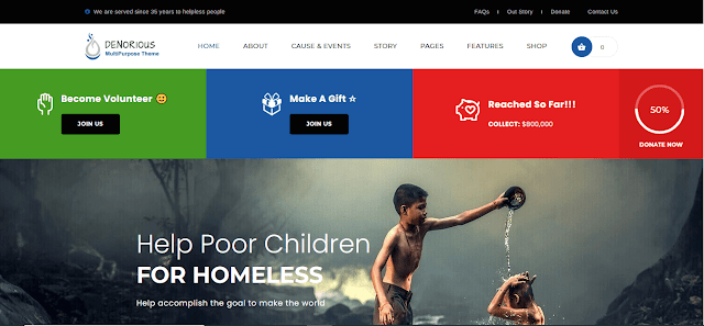 Nonprofit Fundraising & Charity WordPress Themes With Donation System   Denorious