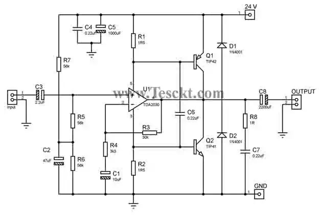 TDA2030 transistor amplifier with single power supply