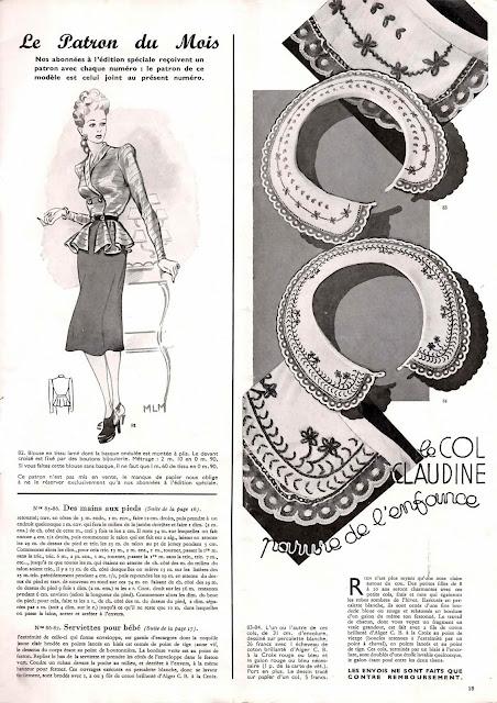 magazine mode et travaux octobre 1942 le patron du mois et col claudine