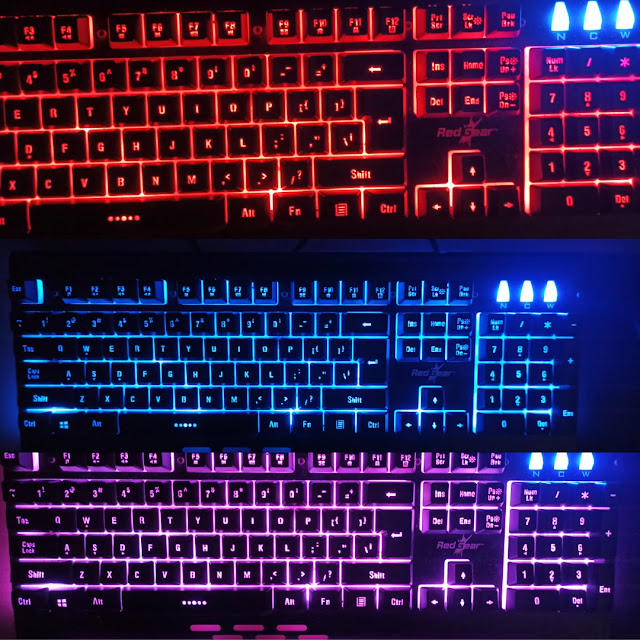 RED , Blue , Purple Backlight Red Gear Gaming Keyboard