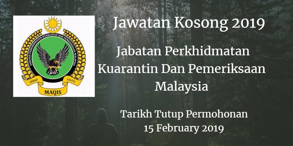 Jawatan Kosong MAQIS 15 February 2019