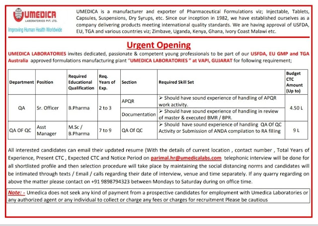 Umedica Laboratories Urgent Openings for Quality Assurance Quality Control Departments Apply Now
