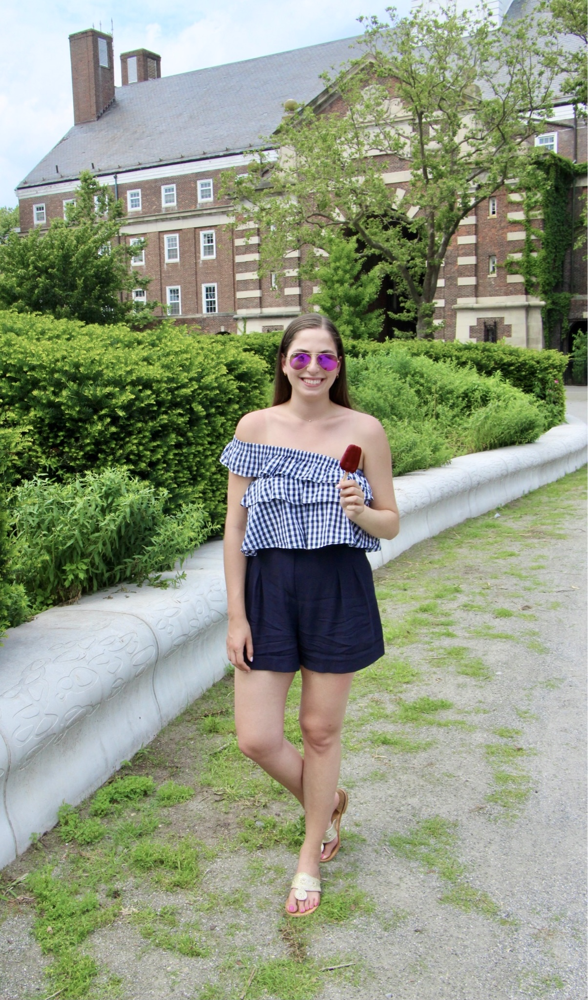 summer outfit, gingham top, navy shorts, jack rogers, sandals, summer outfit, casual summer outfit