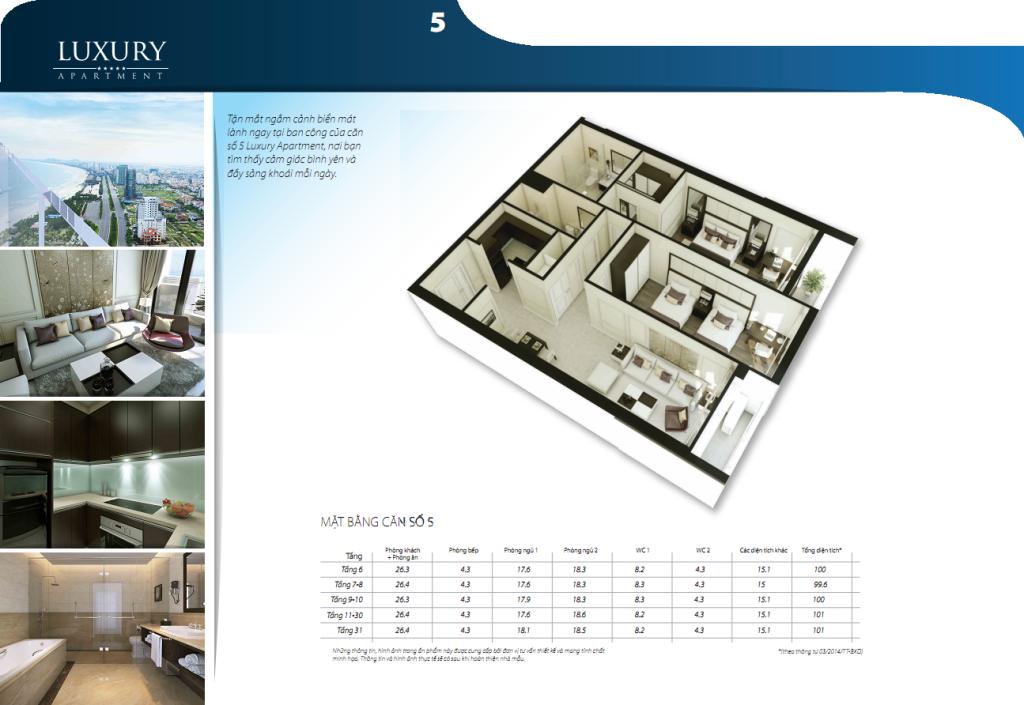 Chi tiết căn hộ 05 dự án Luxury Apartment Đà Nẵng