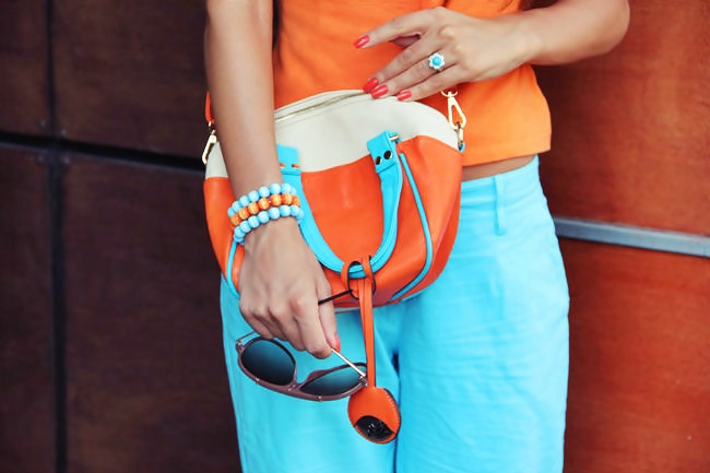 how to mix blue and orange, blue and orange outfit combinations