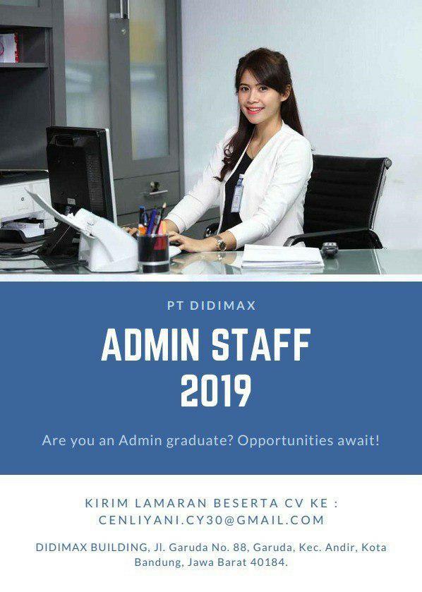 Lowongan Kerja Admin Staff PT. Didimax Bandung November 2019