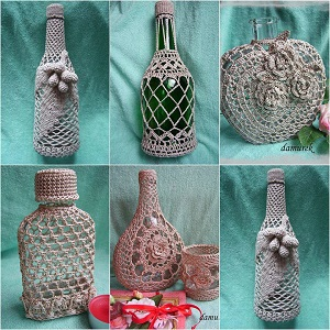 crochê reciclar garrafas e potes