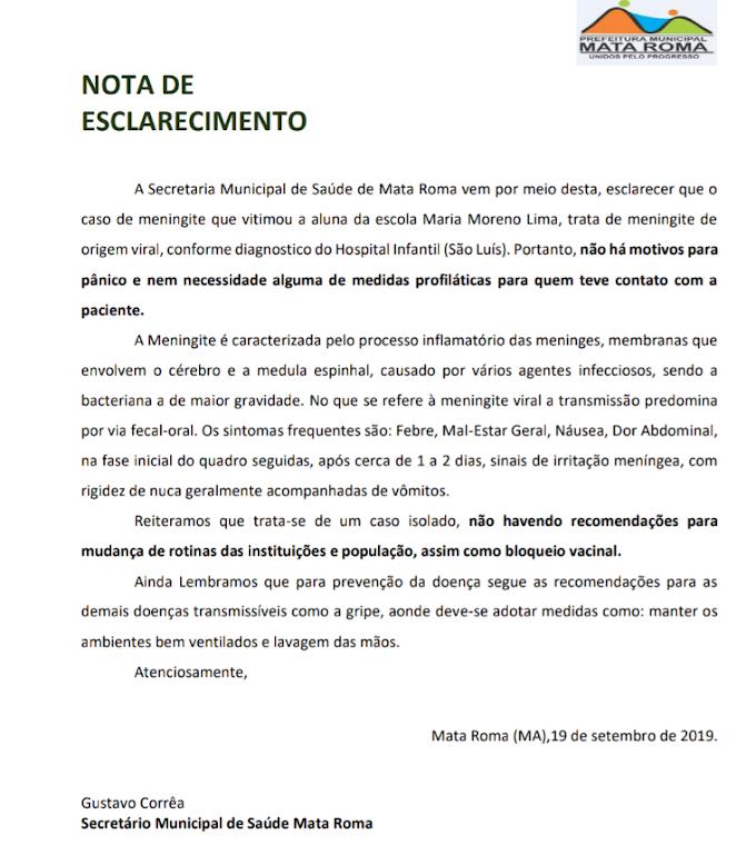 Prefeitura de Mata Roma emite nota sobre morte de Aluna da rede municipal