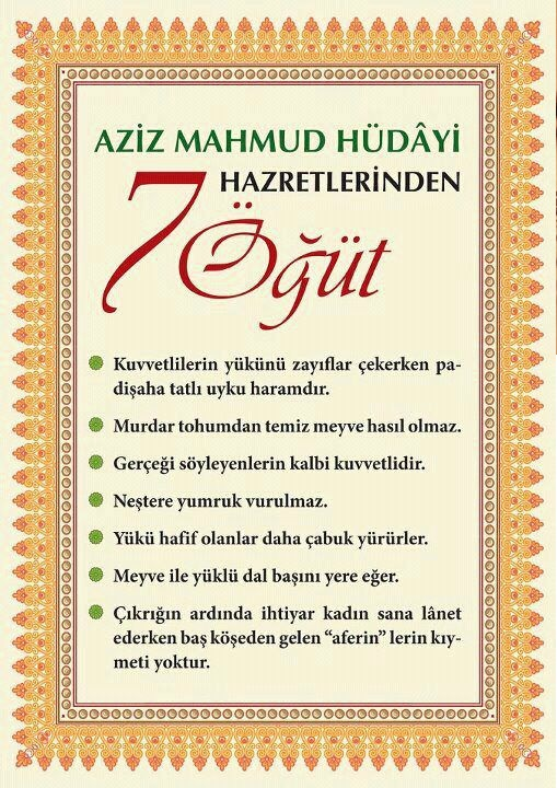 Aziz Mahmud Hüdayi Hz.'lerinden 7 öğüt!