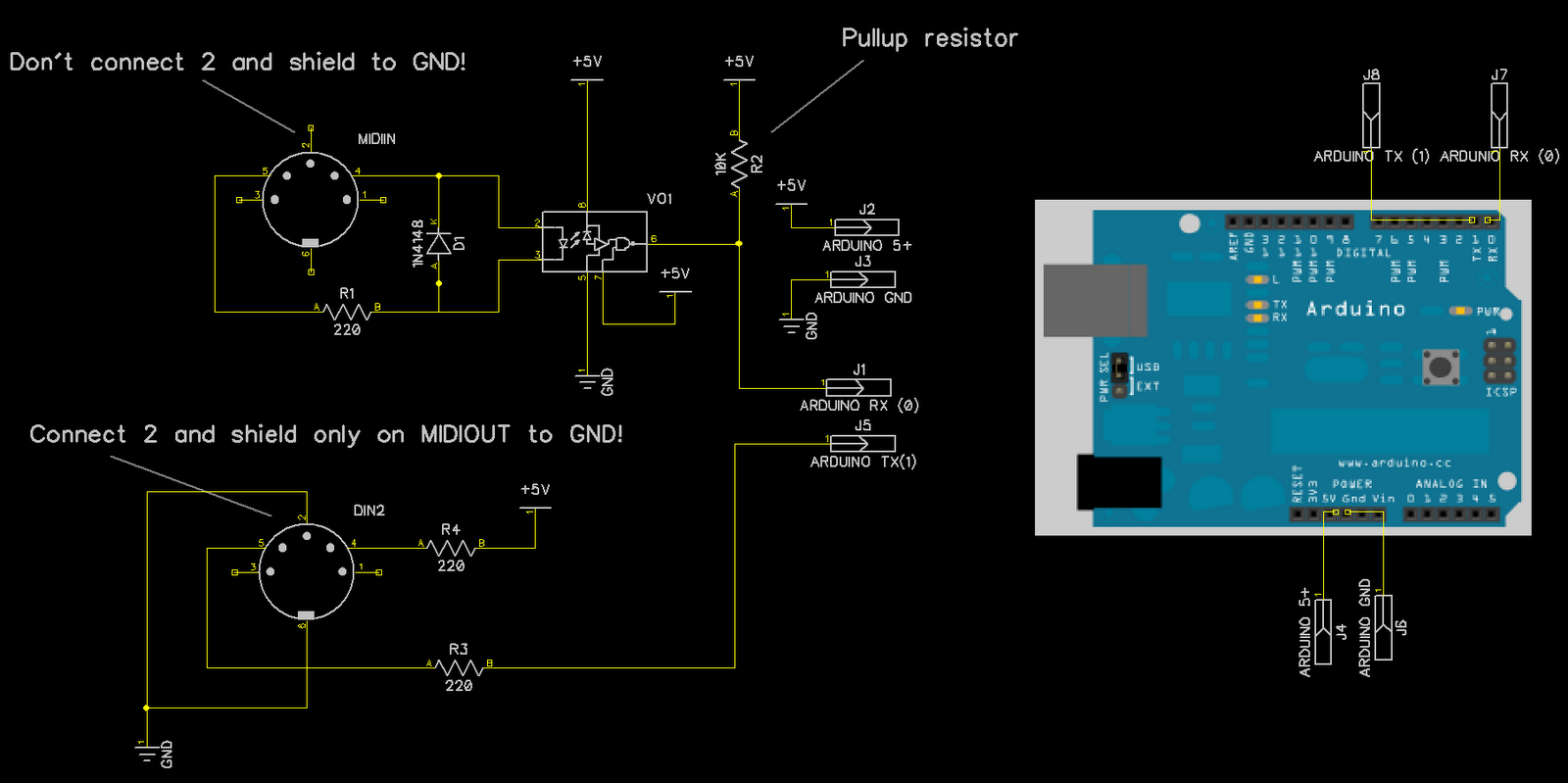 Basic Midi Interface For Arduino | JTUS - Journey To Unknown