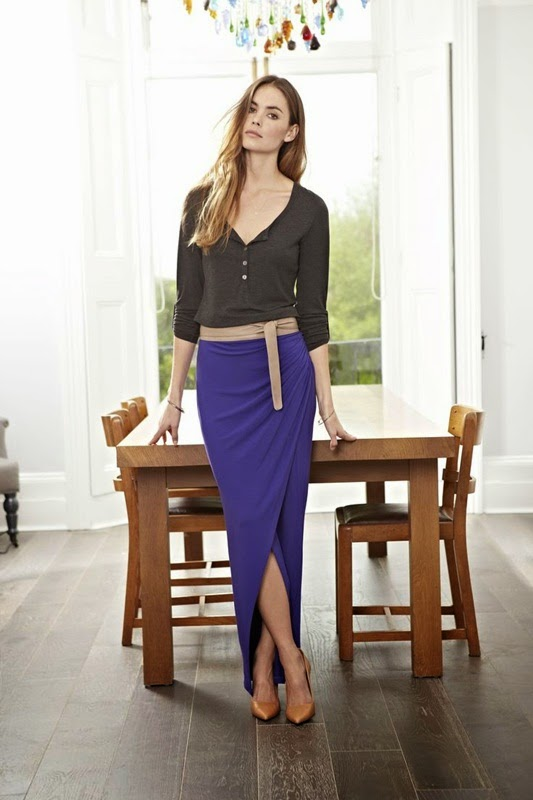 Wearing a Purple High waisted Pencil Skirt with Obi Belt and Nude Heels