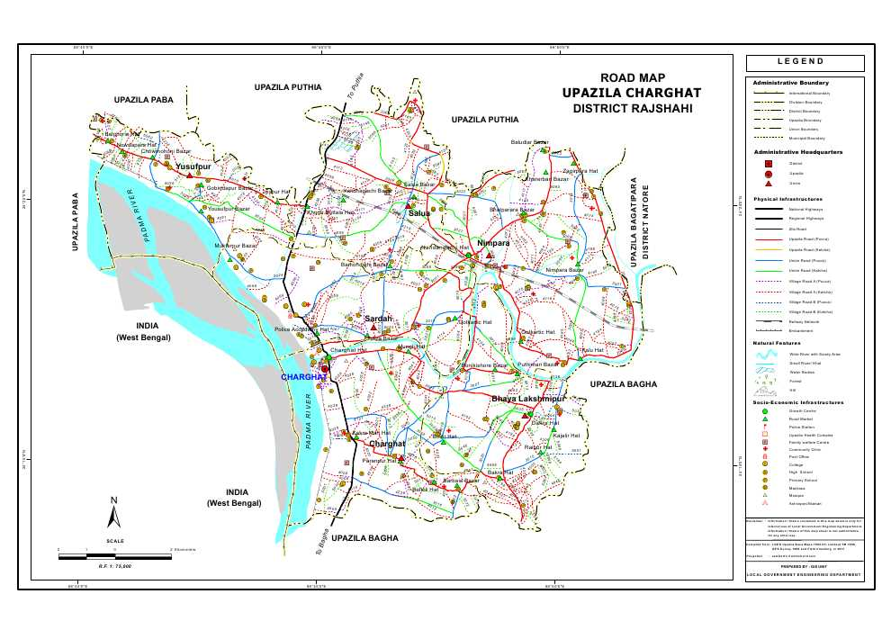 Charghat Upazila Road Map Rajshahi District Bangladesh
