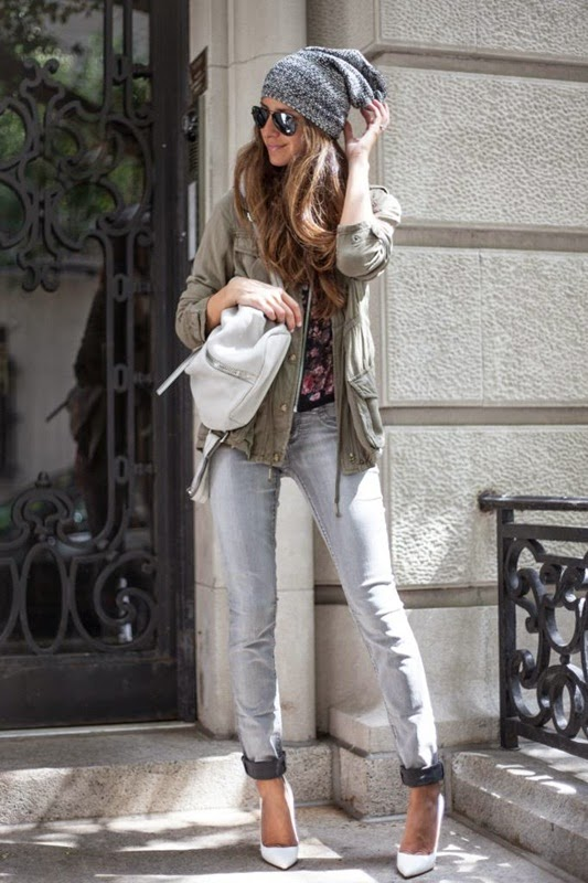 Wearing a Military Jacket with Grey Jeans, White Heels and Beanie