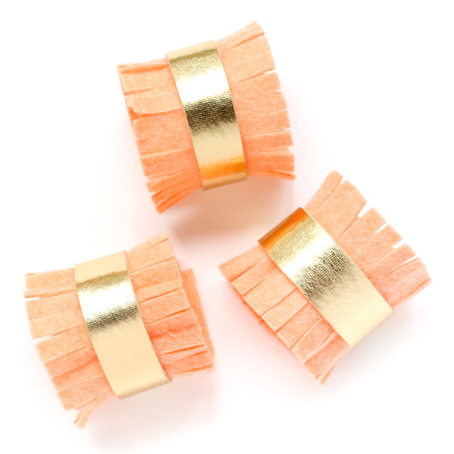 DIY Felt Fringe and Gold Napkin Rings with a Bow Folded Napkin - Dinner Party Idea - Brunch - Mother's Day - Coral and Orange Napkins