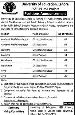University of Education Lahore Jobs 2020, UE Advertisement