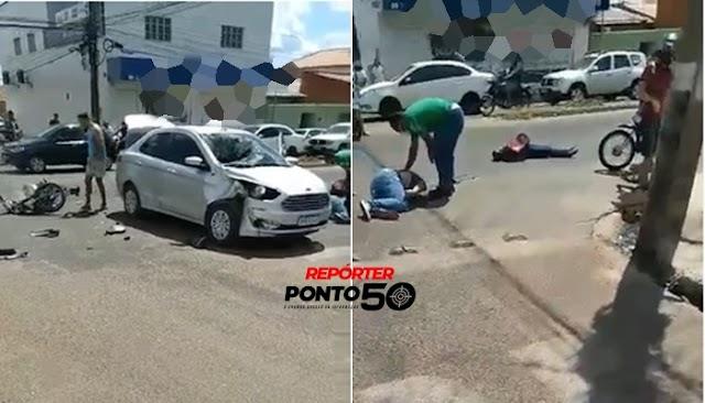Mulher morre e homem sai ferido de acidente na Vila Maria em Teresina