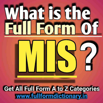 Full Form of MIS, Additional Information of the full form of MIS