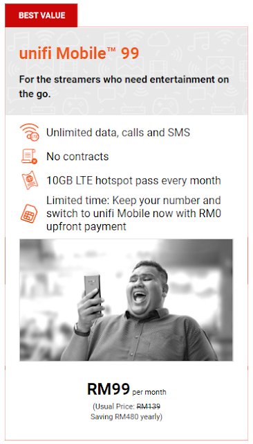 UNIFI MOBILE RM99 (Unlimited , No Contract)
