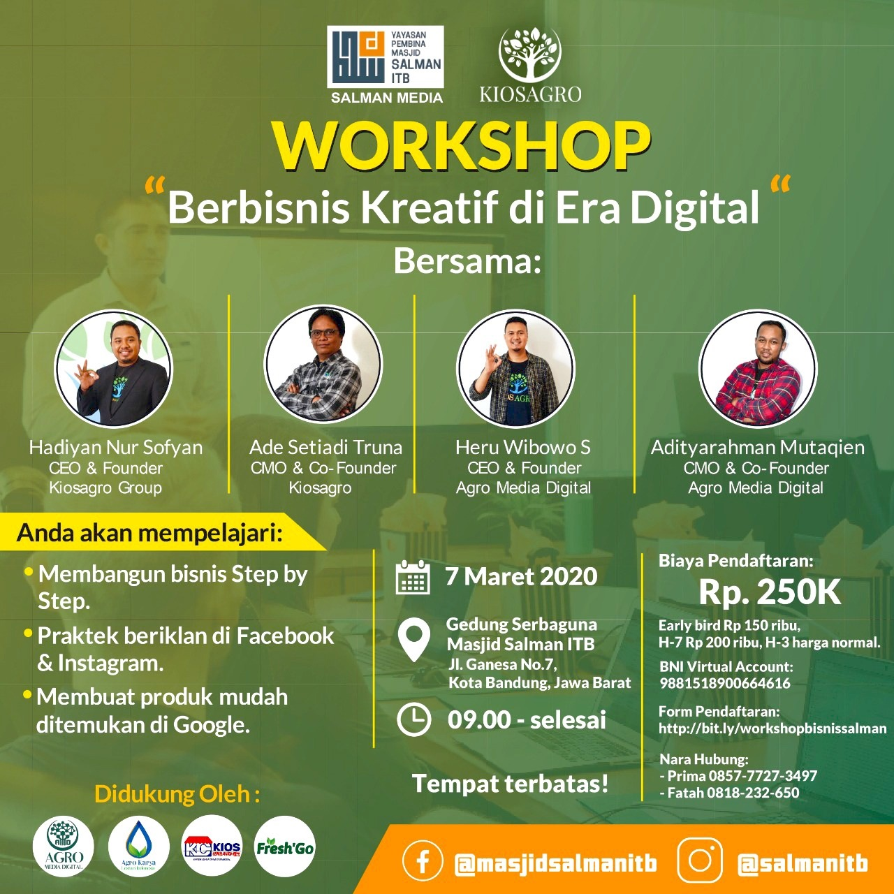 Workshop Berbisnis Kreatif di Era Digital 2020 Salman ITB Salman Media Kiosagro