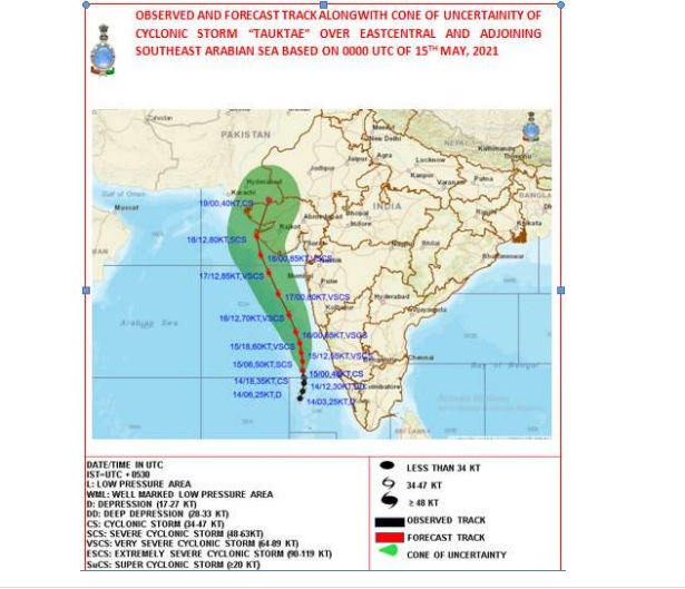 """cyclonic storm """"Tauktae"""" over east- central and adjoining southeast arabian sea."""
