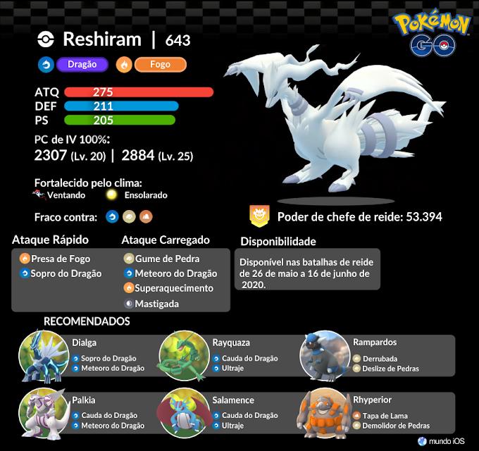 Confira o guia de batalha de reide para enfrentar Reshiram em Pokémon GO