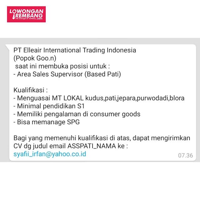 Lowongan Kerja Sales Supervisor PT Elleair International Trading Indonesia