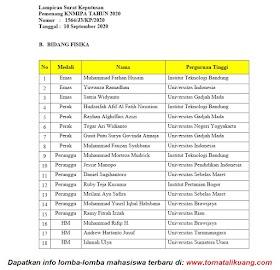 Daftar Peraih Medali KN MIPA 2020 Bidang Fisika
