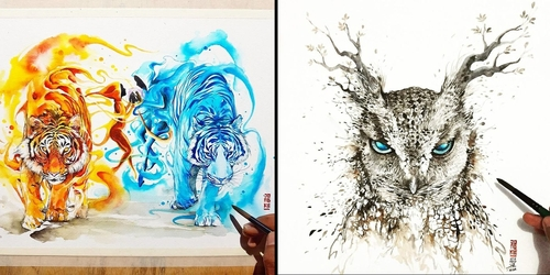 00-Jongkie-art-Luqman-Reza-Mulyono-Vibrant-Fantasy-Watercolor-Animal-Paintings-www-designstack-co
