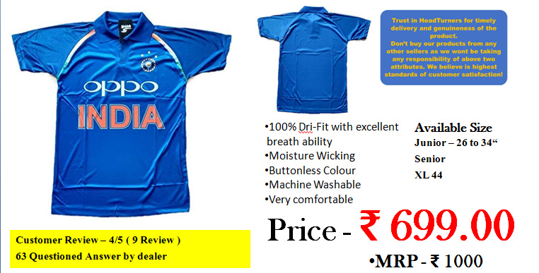 this is jersey which was using indian cricketers just before the new jersey launch for icc world cup 2019 genuine blue colour with shoulder tricolour