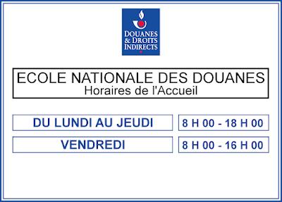 Horaires Accueil - École Nationale de Douanes Tourcoing