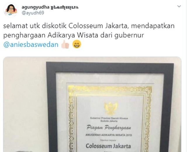 Fakta Penghargaan Diskotik Colosseum dari Gubernur DKI