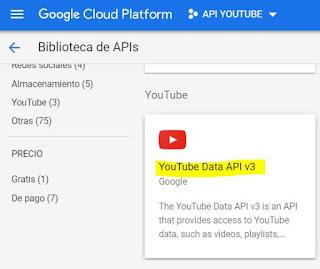 crear youtube data api v3