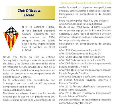 Club d'Escacs Lleida en el Campeonato de España por equipos 2012