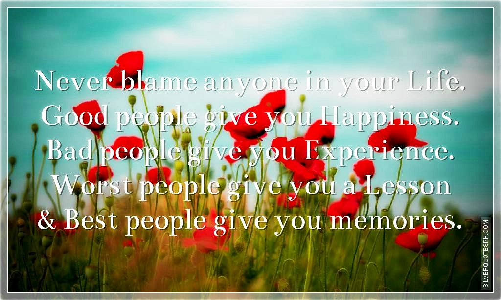 never blame anyone in your life silver quotes