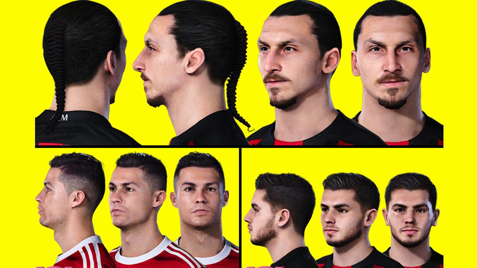 PES 2021 Faces Cristiano Ronaldo, Brahim Diaz, and Zlatan Ibrahimovic