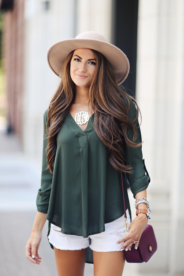 Lush V-neck crepe blouse
