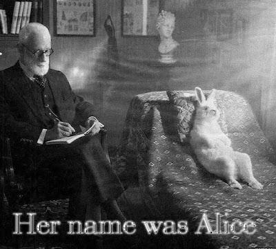 Meme de humor sobre psicoanálisis del conejo en Alicia en el país de las maravillas