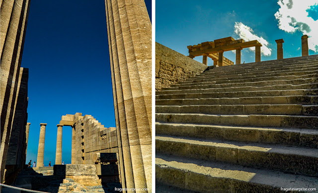 Templo de Atena e Propileu da Acrópole de Lindos, Ilha de Rodes, Grécia