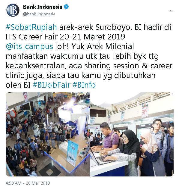 Bank Indonesia Hadir di ITS Career Fair 20 - 21 Maret 2019
