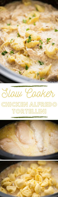 Slow Cooker Chicken Alfredo Tortellini #dinner #recipe