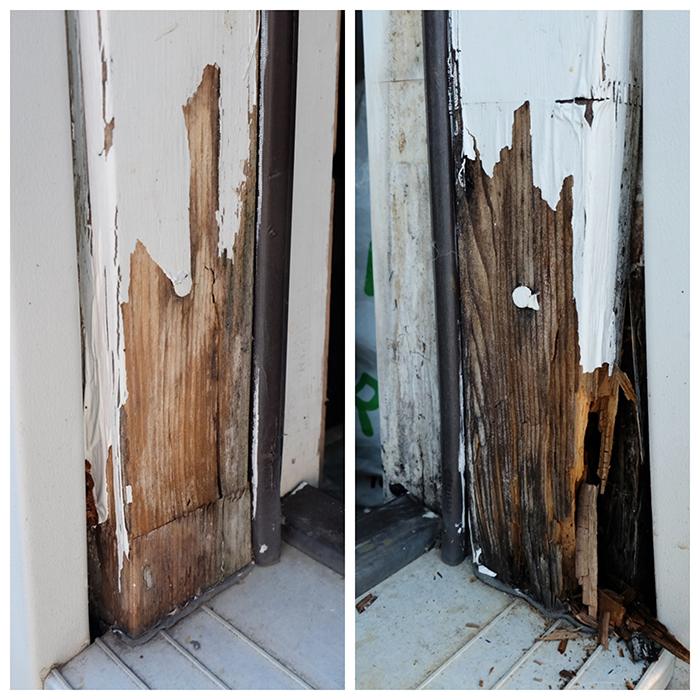damaged door frame before