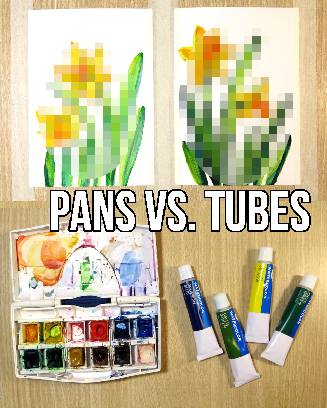 What's the difference between pan and tube watercolors? Tube vs. pan watercolors - one artwork in two mediums! I'm comparing tube and pan watercolors by swatching them and painting roughly the same image with each of them on the same type of watercolor paper.