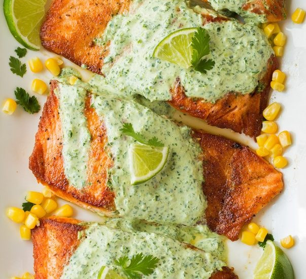 Skillet Seared Salmon with Creamy Cilantro Lime Sauce #healthy #dinner