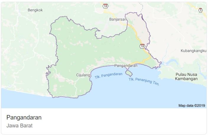 Peta Kabupaten Pengandaran Jawa Barat