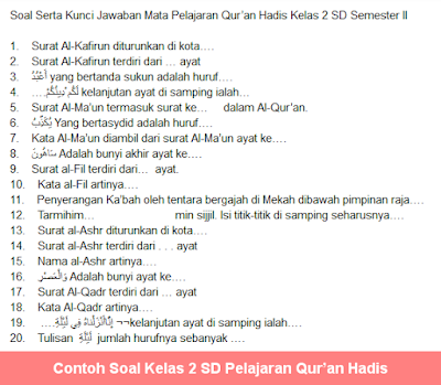 Soal Kelas 2 SD Pelajaran Qur'an Hadis