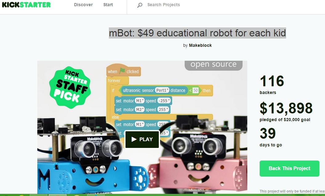 探奇EV3 樂高機器人LEGO BOOST mBot 教學Touch Classroom : mBot 募資